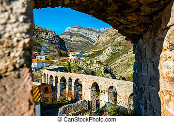 Old Bridge in Stari Bar, Montenegro. View from the fortess