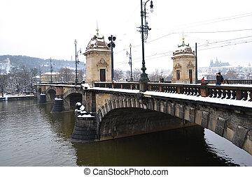 Old bridge in the center of Prague