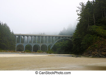 Old bridge in the fog on the coast of the Pacific Ocean