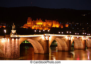 Old Bridge, Neckar, Castle at night, Heidelberg, Germany