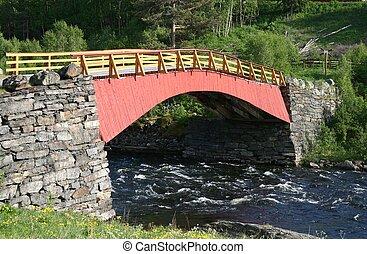 Old wooden bridge in Norway