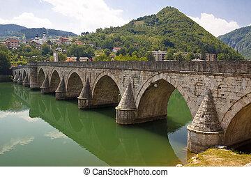 Old bridge on Drina river - Visegrad, Balkans.