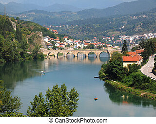 old bridge on river Drina