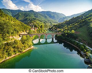 Old bridge over Jablanicko lake in Bosnia and Herzegovina.