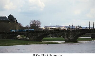 Old Bridge Over River Elbe in Dresden