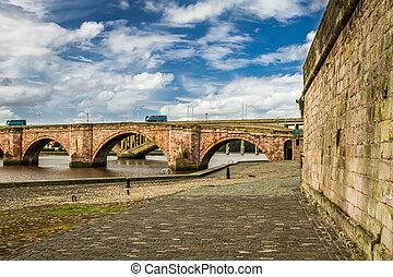 Old bridge over river Tweed in Scotland