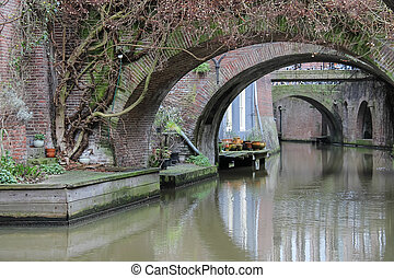 Old bridges of Oudegracht canal in Utrecht, the Netherlands