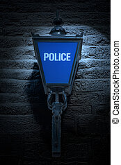 Old British Blue Police Lamp