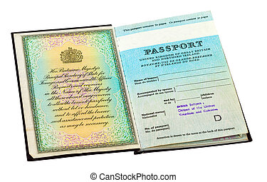 Old British passport isolated on white background