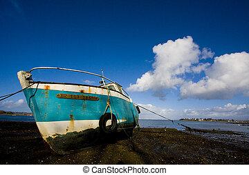 old broken boat in brittany