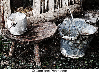 old broken bucket with old toned effect