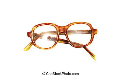 Old broken glasses on white background