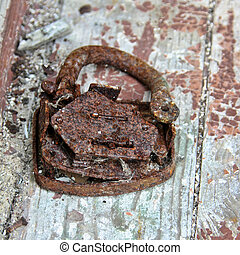 Old broken rusty lock