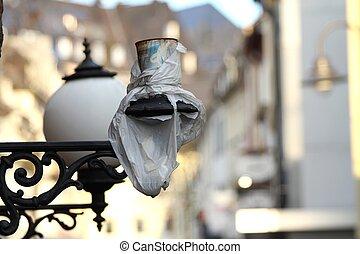 old broken street lamp