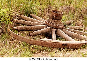 old broken wagon wheel