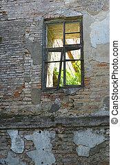 old broken window in castle
