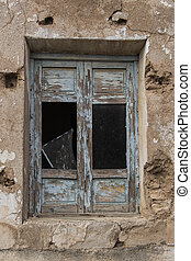 old broken windows, old blue window, house in ruins, house destroyed by the passage of time