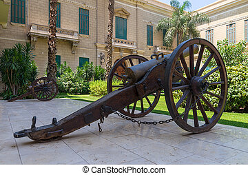 Old bronze cannon in front of the royal palace of Abdeen, Cairo, Egypt