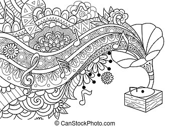 Old bronze Phonograph doodle design for coloring book page, banner, background and design element