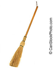 Old Broom isolated over a white background