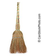 Old broom on white