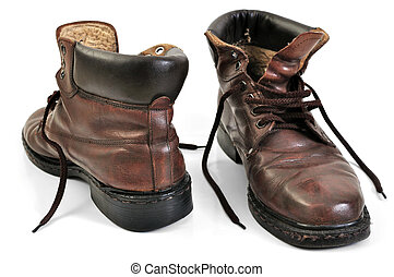 old brown leather work boots