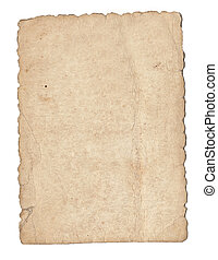Old brown paper isolated on a white background.