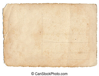 Old brown postcard isolated on a white background.
