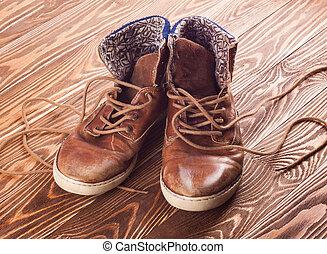Old brown sneakers