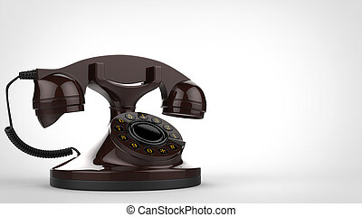 Old brown vintage telephone - 3D Illustration