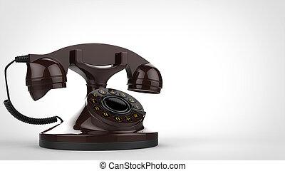 Old brown vintage telephone - 3D Illustration