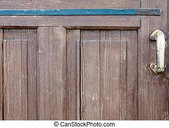old brown wooden door close up
