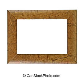 Old brown wooden frame isolated on white background