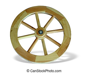 Old brown wooden wagon wheel from a cart isolated over white