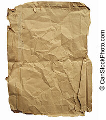 Old brown wrinkled paper on white background