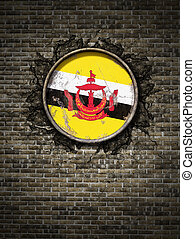 Old Brunei flag in brick wall