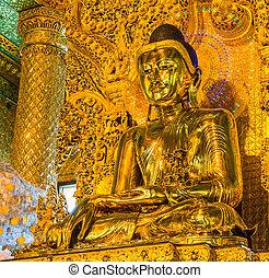 Old Buddha in Bo Ta Tuang Paya Temple Yangon, Myanmar...
