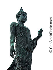 Old Buddha statue on a white background.
