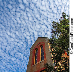 Old Building and blue sky with Clouds