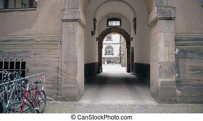 Old building arch in Dresden centre, Germany