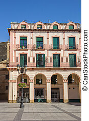 Old building at the central square in Huesca