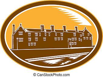 Old Building Cambridge Woodcut Retro - Illustration of an...