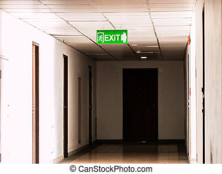 Old building Emergency Exit with Exit Sign