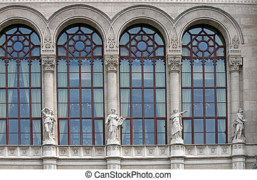 old building faade with statues Budapest Hungary - old...