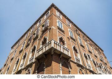 Old Building facade in Venice in Italy