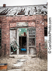 Old Building Falling Apart - An old building is in ruins; ...