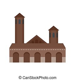 Old building icon, flat style