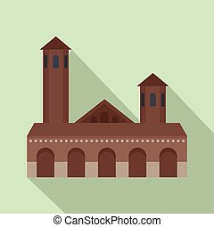 Old building icon, flat style - Old building icon. Flat...