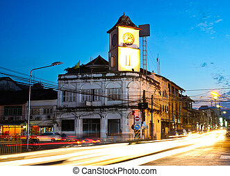 Old building in Phuket town twilight, Thailand.