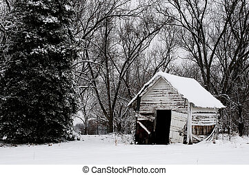 Old Building in the Snow